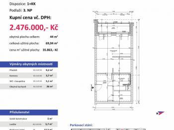 půdorys s výměrami - Prodej bytu 1+kk v osobním vlastnictví 69 m², Plzeň