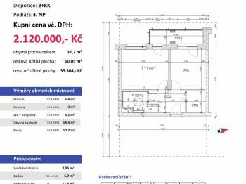půdorys - Prodej bytu 2+kk v osobním vlastnictví 60 m², Plzeň