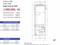 půdorys (Prodej bytu 1+kk v osobním vlastnictví 53 m², Plzeň)