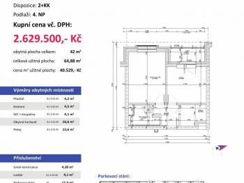 půdorys - Prodej bytu 2+kk v osobním vlastnictví 65 m², Plzeň