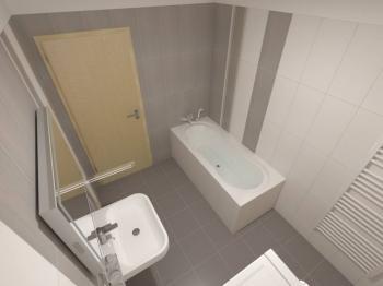 vizualizace koupelny - Prodej bytu 3+kk v osobním vlastnictví 99 m², Plzeň