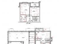půdorys s orientačním rozvržením nábytku (Prodej bytu 4+kk v osobním vlastnictví 275 m², Plzeň)