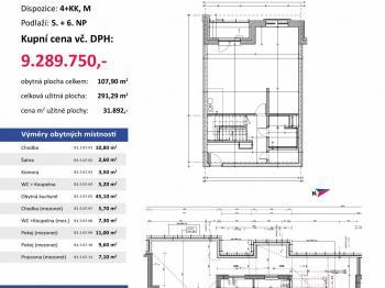půdorys - Prodej bytu 4+kk v osobním vlastnictví 291 m², Plzeň