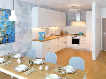 vizualizace kuchyně s jídelním stolem - Prodej bytu 4+kk v osobním vlastnictví 291 m², Plzeň