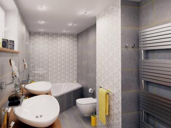 vizualizace koupelny - Prodej bytu 4+kk v osobním vlastnictví 264 m², Plzeň