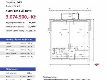 půdorys - Prodej bytu 2+kk v osobním vlastnictví 74 m², Plzeň