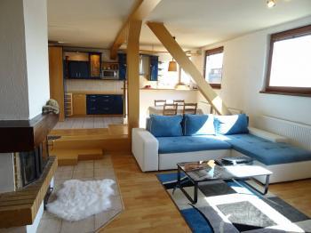 Obývací pokoj s kuchyní - Prodej bytu 4+kk v osobním vlastnictví 126 m², Plzeň