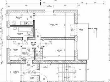 půdorys - Pronájem bytu 2+kk v osobním vlastnictví 99 m², Plzeň