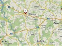 Poloha Milevska vzhledem k okolním městům. - Prodej domu v osobním vlastnictví 520 m², Milevsko