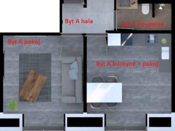 Půdorys - Prodej bytu 2+kk v osobním vlastnictví 36 m², Praha 8 - Libeň