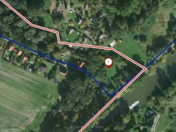 Letecký pohled na pozemek. - Prodej pozemku 1067 m², Vesce