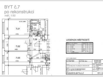 Plánek bytu - Pronájem bytu 2+1 v osobním vlastnictví 51 m², Brno