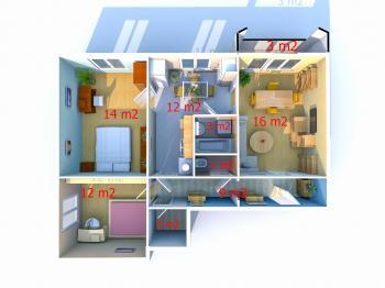 půdorys bytu, výměry jsou na zaokrouhleny na celá čísla - Prodej bytu 3+1 v družstevním vlastnictví 74 m², Uherské Hradiště