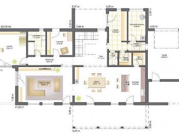 půdorys přízemí - Prodej domu v osobním vlastnictví 289 m², Kořenec