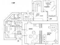 1 NP půdorys - Prodej domu v osobním vlastnictví 190 m², Křtiny