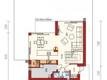 půdorys 1NP - Prodej domu v osobním vlastnictví 180 m², Malá Lhota