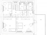 Půdorys horního patra (Prodej domu v osobním vlastnictví 156 m², Praha 4 - Šeberov)