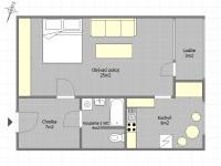 Plánek bytu (Prodej bytu 1+1 v osobním vlastnictví 48 m², Praha 9 - Černý Most)