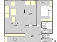 Půdorys bytu - Prodej bytu 3+1 v družstevním vlastnictví 67 m², Praha 4 - Chodov
