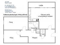 Plánek - Prodej bytu 3+kk v družstevním vlastnictví 80 m², Praha 5 - Hlubočepy