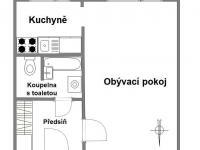 Plánek bytu - Pronájem bytu 1+1 v osobním vlastnictví 27 m², Praha 4 - Krč