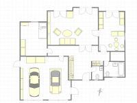 Půdorys přízemí domu - Prodej domu v osobním vlastnictví 199 m², Praha 4 - Šeberov