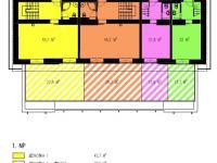 1NP_půdorys_žlutě vyznačeno - Prodej bytu 3+kk v osobním vlastnictví 86 m², Horní Maršov