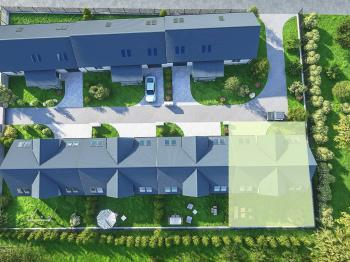 umístění domu na pozemku - Prodej domu v osobním vlastnictví 143 m², Milovice
