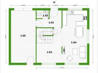 půdorys 1NP - Prodej domu v osobním vlastnictví 143 m², Milovice