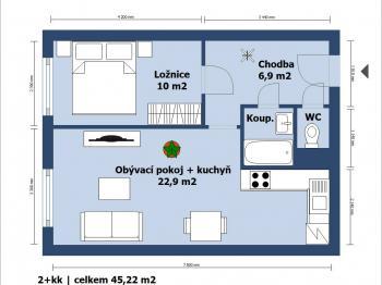 půdorys 2D - Prodej bytu 2+kk v osobním vlastnictví 43 m², Brandýs nad Labem-Stará Boleslav
