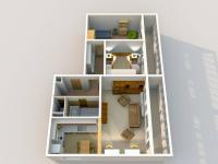 Půdorys 3D - Prodej bytu 3+1 v osobním vlastnictví 82 m², Brandýs nad Labem-Stará Boleslav