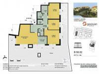 Plán bytu a terasy (Prodej bytu 4+kk v osobním vlastnictví 247 m², Praha 10 - Záběhlice)