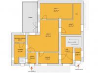 orientační plán domu 1.NP - Prodej domu v osobním vlastnictví 285 m², Praha 8 - Dolní Chabry