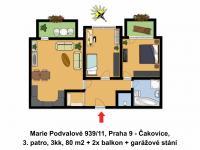 Půdorys bytu (Pronájem bytu 3+kk v osobním vlastnictví 80 m², Praha 9 - Čakovice)