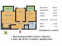 Půdorys bytu s rozměry (Pronájem bytu 3+kk v osobním vlastnictví 80 m², Praha 9 - Čakovice)