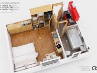 3D plán bytu - Prodej bytu 1+kk v osobním vlastnictví 27 m², Praha 1 - Nové Město