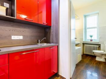 Průhled z předsíně do koupelny - Prodej bytu 1+kk v osobním vlastnictví 27 m², Praha 1 - Nové Město