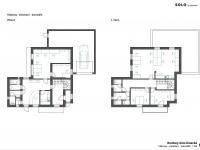 návrh možného využití domu pro kanceláře (Prodej kancelářských prostor 210 m², Praha 8 - Dolní Chabry)