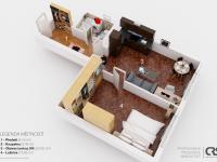 orientační 3D plánek bytu (Prodej bytu 2+kk v osobním vlastnictví 50 m², Praha 2 - Vinohrady)