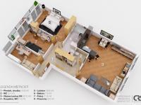 3D plán bytu (Prodej bytu 4+kk v osobním vlastnictví 108 m², Praha 8 - Dolní Chabry)