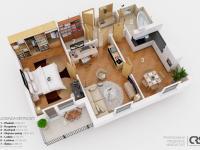 orientační 3D plán bytu (Prodej bytu 2+1 v osobním vlastnictví 75 m², Chrášťany)