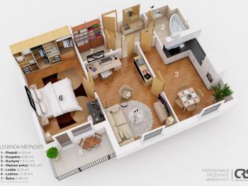 orientační 3D plán bytu - Prodej bytu 2+1 v osobním vlastnictví 75 m², Chrášťany