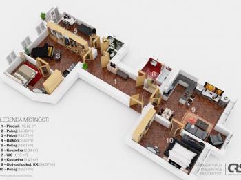 3D plánek - Prodej bytu 4+1 v osobním vlastnictví 133 m², Praha 1 - Nové Město