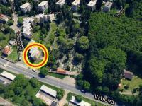 Letecká mapa lokality s vyznačením polohy nemovitosti - Prodej bytu 2+kk v osobním vlastnictví 60 m², Praha 4 - Braník
