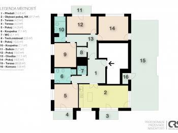 Plán bytu - Pronájem bytu 5+kk v osobním vlastnictví 145 m², Praha 5 - Košíře