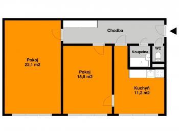 Orientační plánek - Prodej bytu 2+1 v osobním vlastnictví 63 m², Kolín