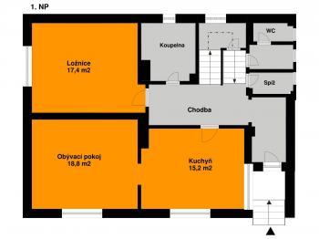 Plánek 1. NP - Prodej domu v osobním vlastnictví 140 m², Kounice