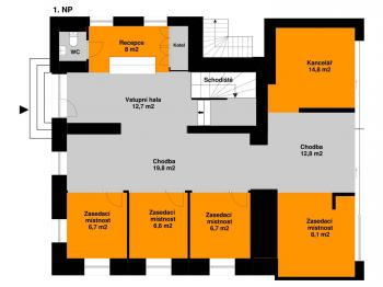 Plánek 1. NP - Pronájem kancelářských prostor 342 m², Praha 5 - Jinonice