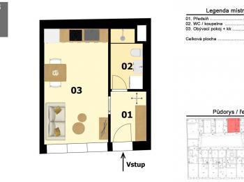 Prodej bytu 1+kk v osobním vlastnictví, 29 m2, Praha 5 - Smíchov