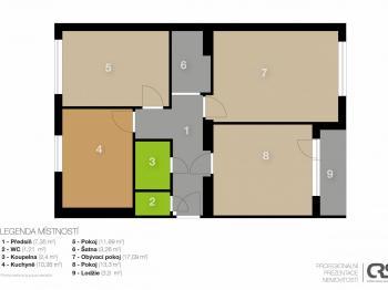 Půdorys - Prodej bytu 3+1 v osobním vlastnictví 71 m², Praha 5 - Radlice